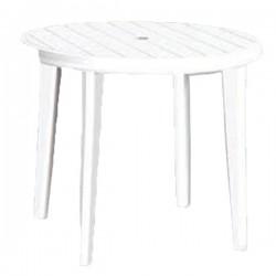 Ronde witte plastieken tafel